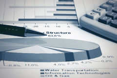 Stock market graphs and charts. Financial report Stock Photos