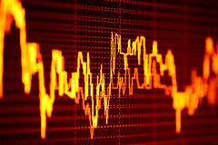 Stock market graphs on computer screen