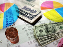 Stock Market Graphs and Money Stock Photo