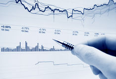 Stock market graphs monitoring Royalty Free Stock Photography