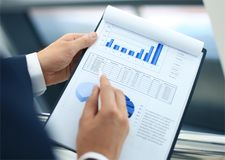 Stock market graphs monitoring Royalty Free Stock Photo