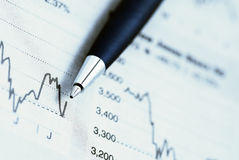 Stock market graphs and pen. Close-up of a blue pen over a stock market graph Royalty Free Stock Photography