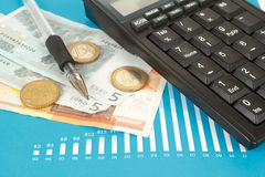 Stock market graphs with pen and euro coins Stock Images