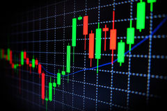 Stock market green and red graph with black background , Forex market , trading. Royalty Free Stock Photos