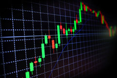 Stock market green and red graph with black background , Forex market , trading. Stock Photography