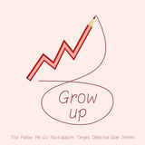 Stock market grow up by red pencil Stock Photos