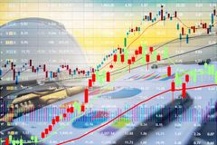 The stock market is growing.calculate investment Marketing of en. Ergy. working solar station photovoltaic panels, industry solar power,Chart Section Power royalty free stock photography