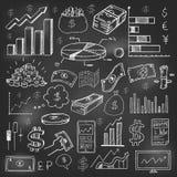 Stock market had drawn symbols on blackboard Royalty Free Stock Image