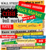 Stock market headlines. Various stock market headlines in different colours and fonts Stock Photography