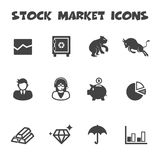 Stock market icons. Mono vector symbols Stock Images