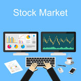 Stock market illustration. Flat design illustration concepts for business, trading, management, finance, business strategy. Royalty Free Stock Photo