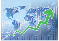 Stock market illustration - green arrow up chart. Stock market illustration - green arrow up ,world map Royalty Free Stock Image
