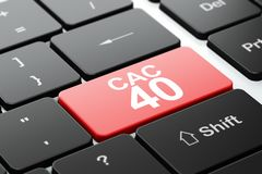 Stock market indexes concept: CAC 40 on computer keyboard background. Stock market indexes concept: computer keyboard with word CAC 40, selected focus on enter Royalty Free Stock Images