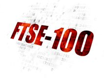 Stock market indexes concept: FTSE-100 on Digital background. Stock market indexes concept: Pixelated red text FTSE-100 on Digital background Stock Illustration