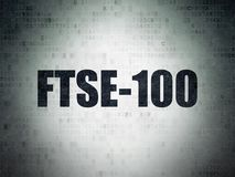Stock market indexes concept: FTSE-100 on Digital Data Paper background. Stock market indexes concept: Painted black word FTSE-100 on Digital Data Paper Stock Photo