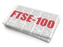 Stock market indexes concept: FTSE-100 on Newspaper background. Stock market indexes concept: Pixelated red text FTSE-100 on Newspaper background, 3D rendering royalty free stock photography