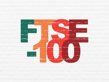Stock market indexes concept: FTSE-100 on wall background. Stock market indexes concept: Painted multicolor text FTSE-100 on White Brick wall background Royalty Free Illustration