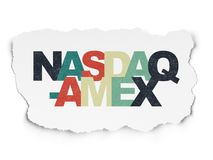 Stock market indexes concept: NASDAQ-AMEX on Torn Paper background Stock Images