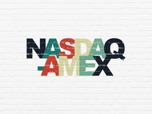 Stock market indexes concept: NASDAQ-AMEX on wall background Royalty Free Stock Photos