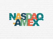 Stock market indexes concept: NASDAQ-AMEX on wall background Royalty Free Stock Images