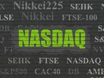 Stock market indexes concept: NASDAQ on wall background Stock Images