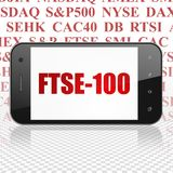 Stock market indexes concept: Smartphone with FTSE-100 on display. Stock market indexes concept: Smartphone with  red text FTSE-100 on display,  Tag Cloud Stock Photography