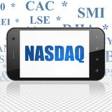 Stock market indexes concept: Smartphone with NASDAQ on display. Stock market indexes concept: Smartphone with  blue text NASDAQ on display,  Tag Cloud Stock Photography