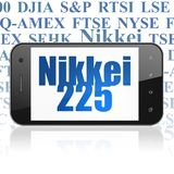 Stock market indexes concept: Smartphone with Nikkei 225 on display. Stock market indexes concept: Smartphone with  blue text Nikkei 225 on display,  Tag Cloud Royalty Free Stock Image