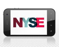 Stock market indexes concept: Smartphone with NYSE on  display. Stock market indexes concept: Smartphone with Painted multicolor text NYSE on display, 3D Royalty Free Stock Photos