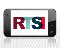 Stock market indexes concept: Smartphone with RTSI on  display. Stock market indexes concept: Smartphone with Painted multicolor text RTSI on display, 3D Royalty Free Stock Images
