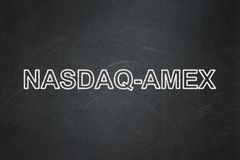 Stock market indexes concept: NASDAQ-AMEX on chalkboard background Stock Images