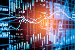 Stock market indicator and financial data view from LED. Double Stock Photography