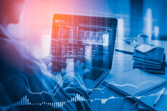 Stock market indicator and financial data view from LED. Double. Explosure financial graph and stock indicator including stock education or marketing analysis royalty free stock photography