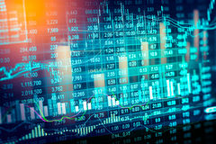 Stock market indicator and financial data view from LED. Double Royalty Free Stock Images
