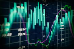 Stock market indicator and financial data view from LED. Double. Explosure  financial graph and stock indicator including stock education or marketing analysis Stock Photography
