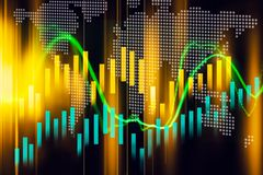 Stock market indicator and financial data view from LED. Double. Exposure  financial graph and stock indicator including stock education or marketing analysis Royalty Free Stock Image