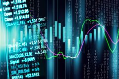 Stock market indicator and financial data view from LED. Double. Exposure  financial graph and stock indicator including stock education or marketing analysis Stock Photo