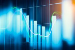 Stock market indicator and financial data view from LED. Double. Explosure  financial graph and stock indicator including stock education or marketing analysis Royalty Free Stock Photo