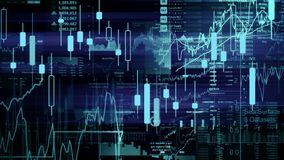Stock market indices are moving in the virtual space. Economic growth, recession. Electronic virtual platform showing trends and stock market fluctuations stock illustration