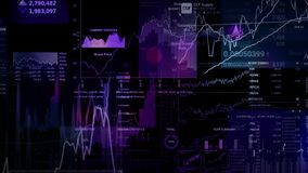 Stock market indices are moving in the virtual space. Economic growth, recession. Electronic virtual platform showing trends and stock market fluctuations royalty free illustration