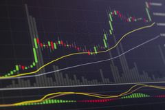 Stock market investment graph in dark tones with candle sticks. royalty free stock photo
