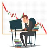 Stock market, investment and trading concept vector illustration. Candlestick chart and sad businessman unhappy trader looking at computer monitor while Stock Photo