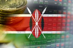 Stock market investment trading financial, coin and Kenya flag or Forex for analyze profit finance business. Trend data background royalty free stock photos