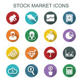 Stock market long shadow icons. Flat vector symbols Royalty Free Stock Photos