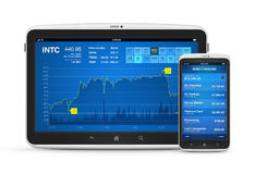 Stock market and mobile banking on digital devices. Stock market data and mobile banking interface on modern digital tablet with mobile smart phone. Isolated on Stock Photos