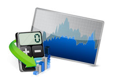 Stock market and modern calculator Royalty Free Stock Images