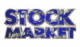 Stock Market Money Income Investment Words. 3d Illustration Royalty Free Stock Photo