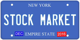 Stock Market New York License Plate. An imitation New York license plate with December 2016 stickers and STOCK MARKET written on it making a great concept. Words stock illustration