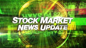 Stock Market News Update - Broadcast Title Graphic. Stock Market News Update with high-tech version of digital stock prices on tickers streaming by. All company stock illustration
