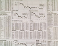 Stock Market Newspaper Background with Charts Royalty Free Stock Photography